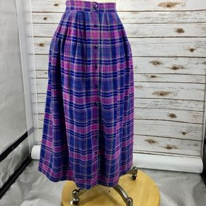 Plaid flannel skirt button front grunge prep vtg